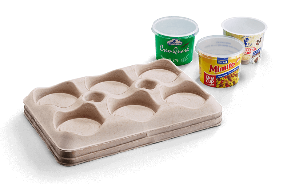 Molded fiber tray for food industry